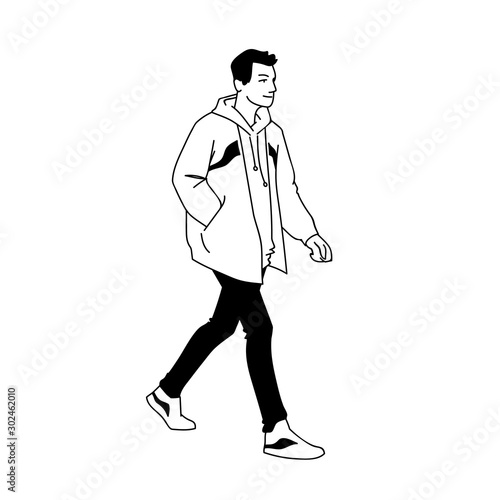 Young Man In Jacket Jeans And Sneakers Walking Side View Monochrome Vector Illustration Of Sprty Man