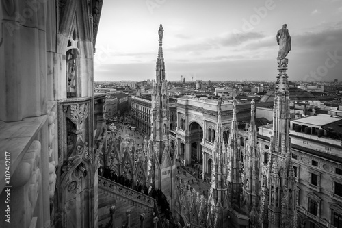 Garden Poster Milan Galleria Vittorio Emanuele view from Duomo rooff terrace Milan Italy - black and white image