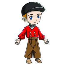 Cartoon Boy Wearing Dutch Costume
