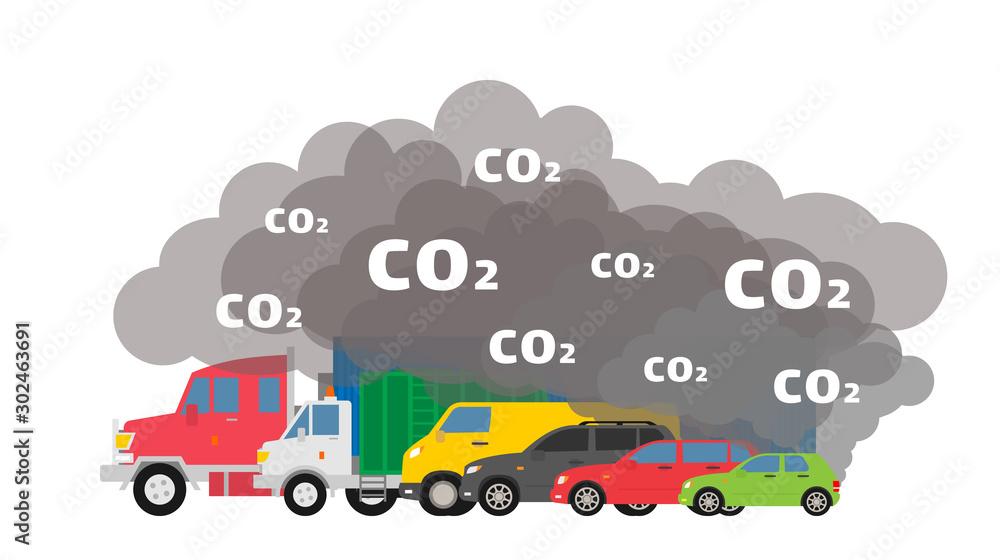 Fototapeta gasoline cars emits co2 dioxide air pollution ecology concept