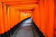 Leinwanddruck Bild - The iconic shrine in Kyoto, made famous for its thousands of orange and black torii gates which climb to the summit of Mt Inari