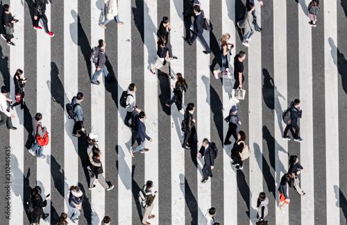 Valokuvatapetti Zebra crossing   Ginza street crowd walk on crosswalk Tokyo Japan