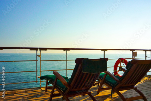 Deck chairs on Luxurious transatlantic crossing aboard the luxury ocean liner cr Canvas Print