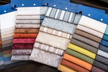 Assorted Fabric Swatches For Interior Decorating