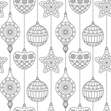 Coloring Page Christmas Retro Ornaments Seamless Pattern. Holiday Winter Background.