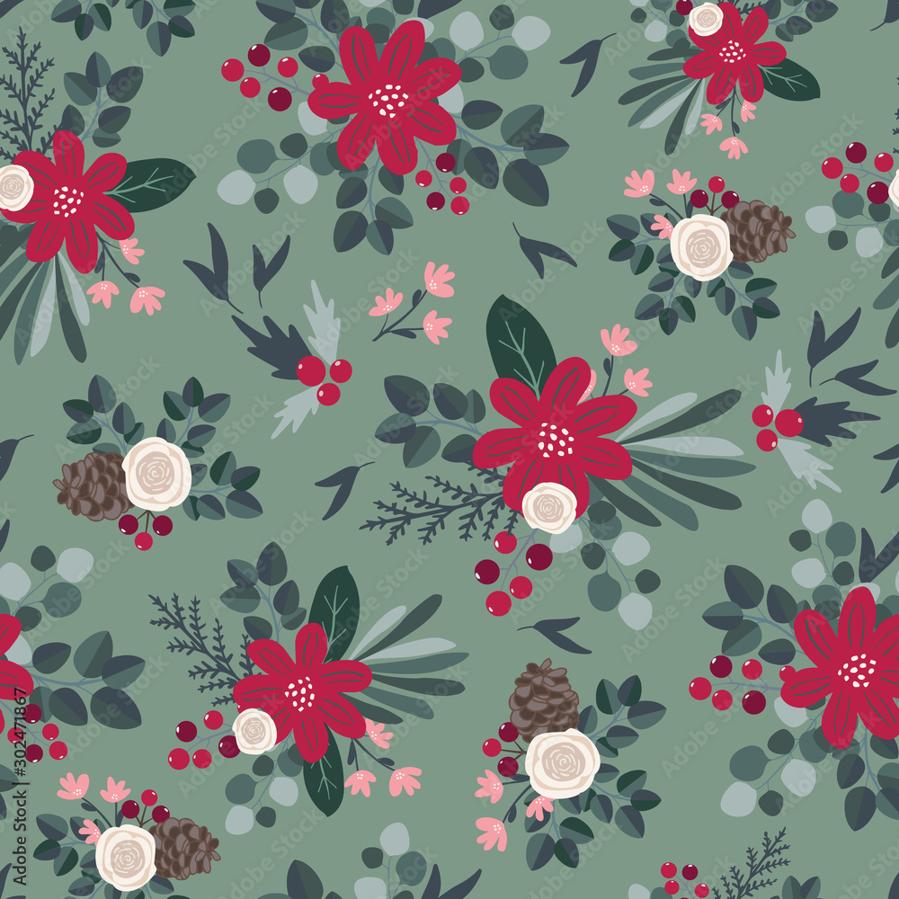Seamless pattern design for fabric, textile, wallpaper stationery, surface design decoration. Christmas tileable pattern inspired by traditional farmhouse christmas in scandinavian style