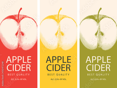 Set of vector labels for Apple cider with a realistic image of half an apple and Fototapete