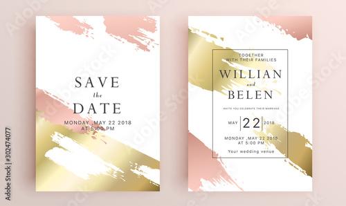 Beautiful set of wedding card templates Canvas Print