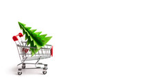Shopping Cart With Christmas Tree Inside On White