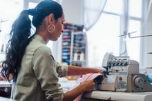 Dressmaker Woman Sews Clothes ...