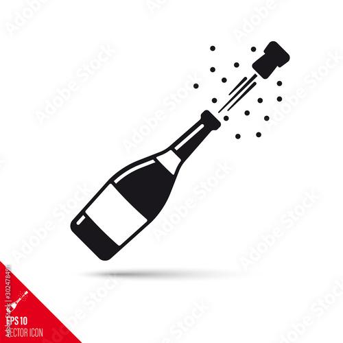 Carta da parati  Champagne bottle popping open vector glyph icon. Success concept.