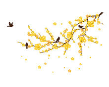 Branch With Flowers And Birds