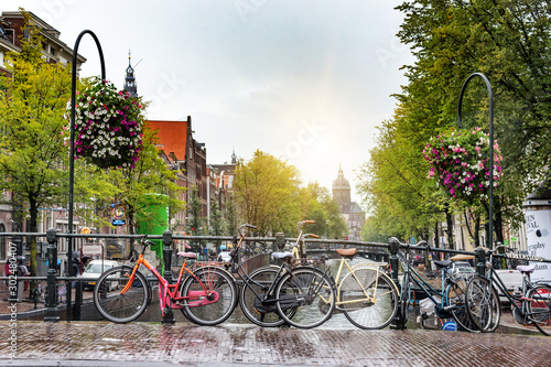 Amsterdam water channel. Canvas Print