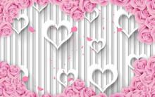 3d Mural Love 3d Illustration, Light Silver Gray Background, White Hearts  , Flowers Pink Wallpaper