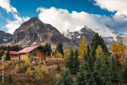 Wooden huts in canadian rockies at Assiniboine provincial park Canvas Print