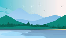Flat Vector Mountain Landscape Near The Lake. Flat Vector Illustration. Flat Design Background. Web Vector Illustration.