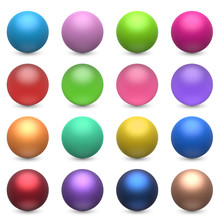 Color Balls Set Isolated On Wh...