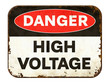 canvas print picture Vintage tin danger sign on a white background - High voltage