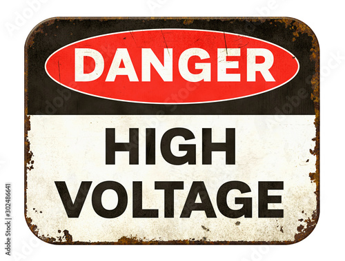 Fototapeta Vintage tin danger sign on a white background - High voltage