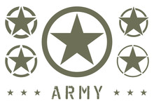 Set Of Army Star Green Olive Color. Military Insignia Symbol