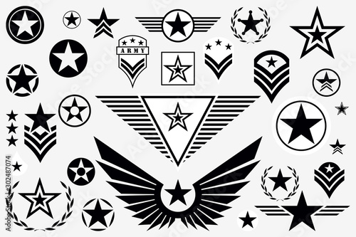 Canvastavla  Set of Army Star. Military Rank Insignia. Military Symbol