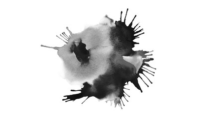 Abstract stain black blot acrylic and watercolor Canvas texture background painting.