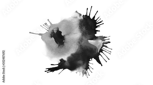 Obraz Abstract stain black blot acrylic and watercolor Canvas texture background painting. - fototapety do salonu