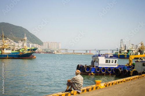 Fototapeta Summer day at the port. obraz na płótnie