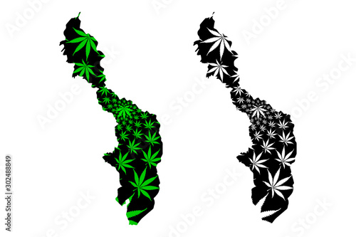 Bolivar Department (Colombia, Republic of Colombia, Departments of Colombia) map is designed cannabis leaf green and black, Bolivar map made of marijuana (marihuana,THC) foliage Canvas Print