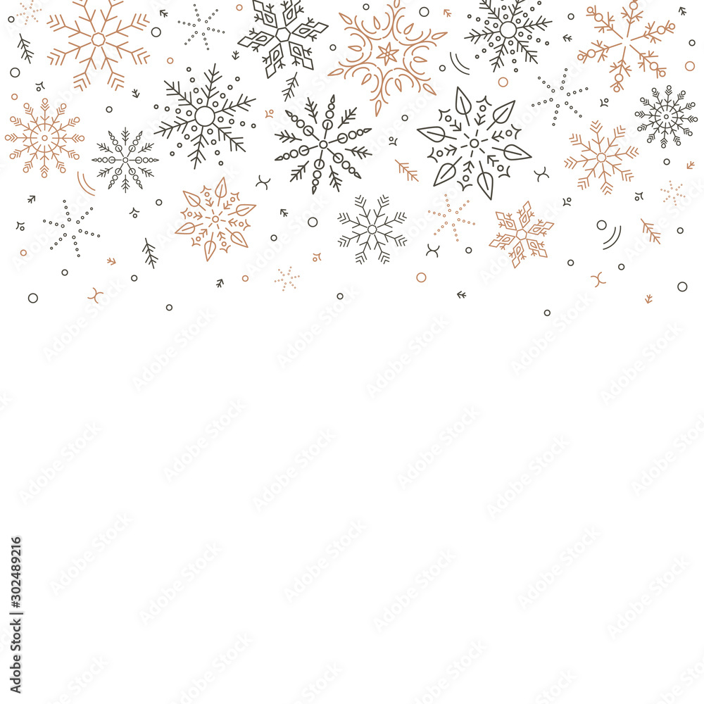 Fototapeta gray golden snowflakes fall from above. Christmas element. Congratulatory holiday background and Xmas concept.