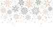 gray golden snowflakes fall from above. Christmas element. Congratulatory holiday background and Xmas concept.