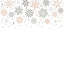 Gray Golden Snowflakes Fall Fr...