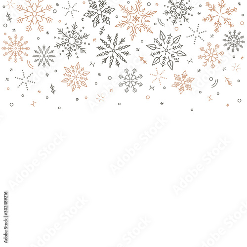 Fototapeten Künstlich gray golden snowflakes fall from above. Christmas element. Congratulatory holiday background and Xmas concept.