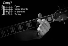 Open Guitar Chords In Standard Tuning Guitar Tutorial Series. Closeup Of Hand Playing Cmaj7 Chord On Guitar, On Black Background. Black And White Photo.