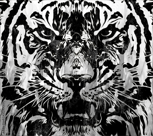 artistic tiger on black background