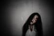 Leinwandbild Motiv Portrait of asian woman make up ghost face,Horror scene,Scary background,Halloween poster
