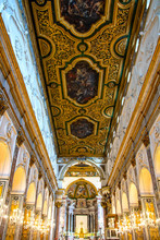 Cathedral In Amalfi, Italy, Interior View Of Nave
