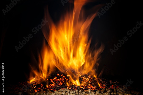 wood pellet burning with a live flame.