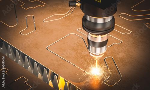 Leinwand Poster cnc laser machine for metal cutting