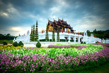 Traditional Thai Architecture At Royal Flora Ratchaphruek Park, Royal Pavilion (Ho Kum Luang), Chiang Mai, Thailand