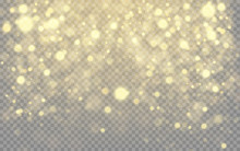 Gold Bokeh, Glowing Light Effect On Transparent Background