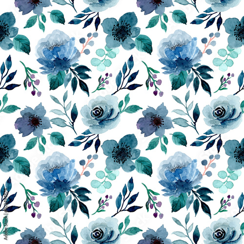 blue indigo floral watercolor pattern
