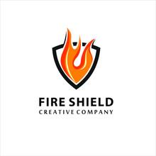 Fire Shield Logo Design Element. Fire Warning Sign Shield. Fire Flame Vector Illustration On White Background, Logo Design Inspiration