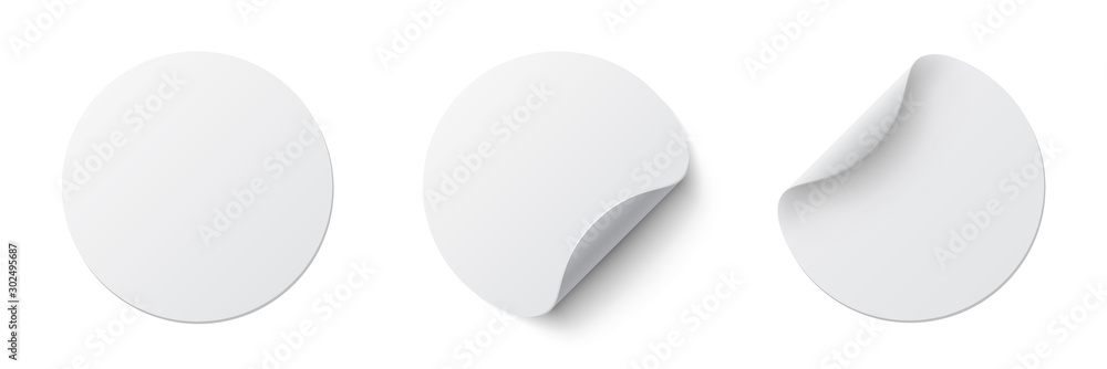 Fototapeta Realistic set white round paper adhesive stickers mockup with curved corner and shadow. White round sticker on white background - stock vector.