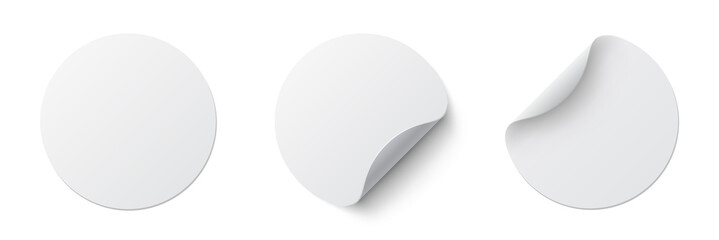 Realistic set white round paper adhesive stickers mockup with curved corner and shadow. White round sticker on white background - stock vector.