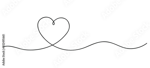 Heart. Continuous line art drawing. Hand drawn doodle vector illustration in a continuous line. Line art decorative design - fototapety na wymiar
