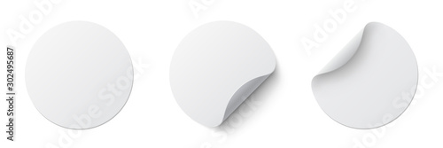 Fotografie, Obraz  Realistic set white round paper adhesive stickers mockup with curved corner and shadow