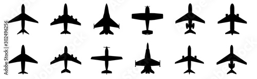 Vászonkép Set airplane icon. Aircrafts flat style - stock vector.