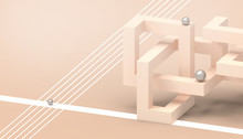 Abstract Low-poly Geometric Technology Cube Concept  Illusion On Orange  Pastel  Background   Structure - 3d Rendering