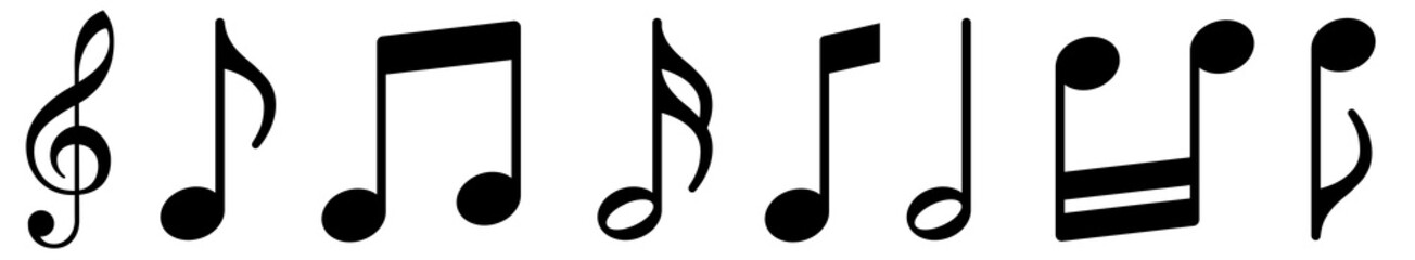 Music notes icons set. Black notes symbol on white background - stock vector.